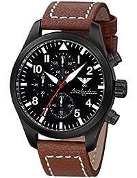 Airleader Black Steel Chronograph KHS.AIRBSC.LB5 Edelstahl IP-beschichtet schwarz, Büffel-Lederband braun, KHS Tactical Watch, Einsatzuhr, Fliegeruhr