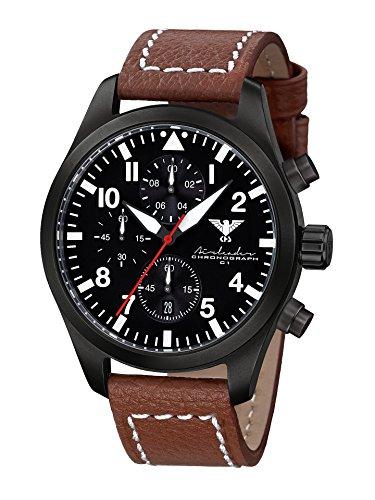 KHS Reloj para Hombre Analógico Cuarzo con Brazalete de Cuero KHS.AIRBSC.LB5