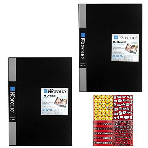 Kunst Portfolio (ITOYA Präsentationsbuch/Portfolio, 33 x 48 cm, für Kunst, Fotografie und Dokumente - 2 Stück + Aufkleber für Scrapbooking, 4 Seiten Emojis, Zitate, Buchstaben und Zahlen)