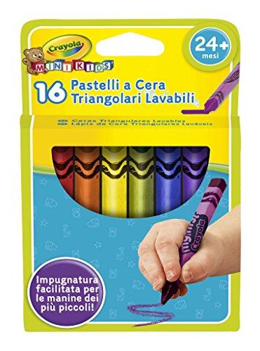 Crayola mini kids pastelli a cera a forma triangolare, per asilo e tempo libero, età 12 mesi, colori assortiti, 16 pezzi, 783