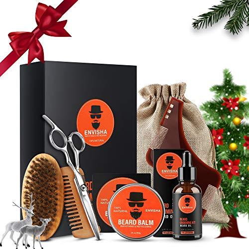 Bartpflege Set Tolles Geschenk für Männer (7-Teilig), Organic Bartöl(30ml), Bartbalsame(60g), Bart Schablone Bartbürste Bartschere und Bartkamm Set mit Geschenkbox Reisetasche(7 in 1)