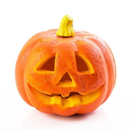 Halloween Kürbis BOOGIE mit Gesicht, orange, LEDs farbwechsel, Styropor, Ø17cm - Kürbis Licht / Grusel Kürbis - showking