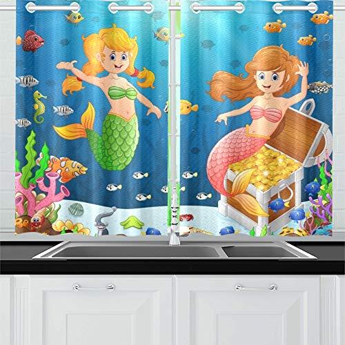 JOCHUAN Meerjungfrau unter Meer Küche Vorhänge Fenster Vorhang Stufen für Café Bad Wäsche Wohnzimmer Schlafzimmer 26 * 39 Zoll 2 Stück
