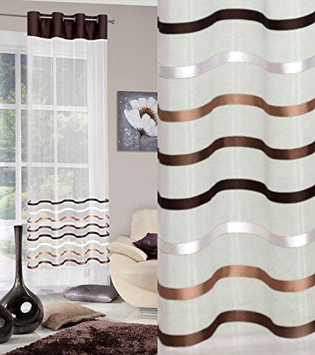 Tenda con occhielli 140x 250cm gabi 1/crema marrone strisce soggiorno trasparente