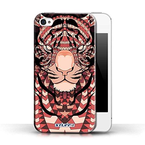 Hülle für Apple iPhone 4/4S / Wolf-Grün / Aztec Tier Muster Kollektion Tiger-Rot