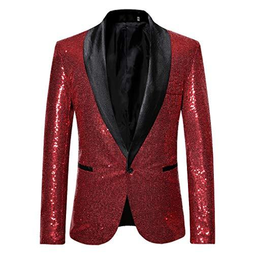 Herren Anzug Party Weihnachts Kostüm Modisch Normaler Schnitt Festliche Anzüge Party Suits Einfarbig, stilvolle feste Klage-Blazer-Geschäfts-Hochzeitsfest-Outwear-Jacke übersteigt Bluse, Wine, 2XL