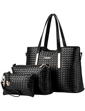 MissFox Frauen Weinlese Handtaschen Schulter Beuteltote Schultaschen Hobo Set