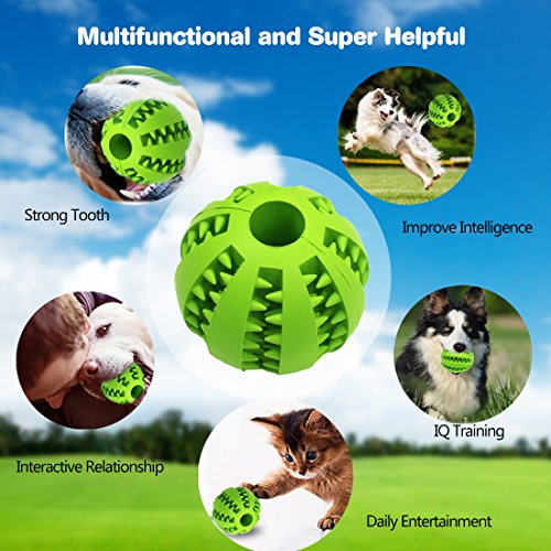 Idepet Hundespielzeug Ball, ungiftig Bite resistent Spielzeug Ball für Haustier Hunde Welpen Katze, Hundefutter Treat Feeder Zahn Reinigung Ball, Hund Haustier Chew Zahn Reinigung Ball Haustier Übung Spiel Ball IQ Training Ball (Grün) - 4