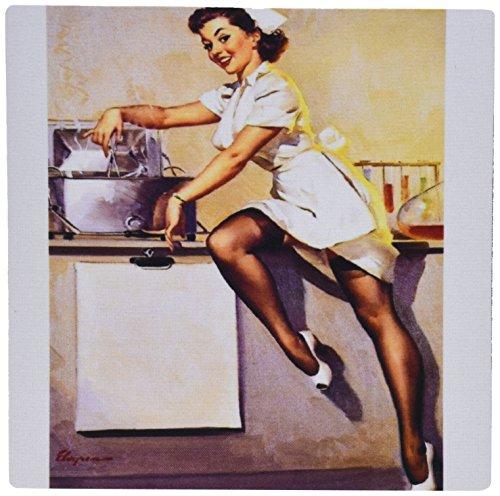 3drose LLC 20,3x 20,3x 0,6cm Maus Pad, Bild von berühmten Elvgren Pinup Naughty Nurse Girl-(MP 171613_ 1) (Naughty Nurse Zubehör)