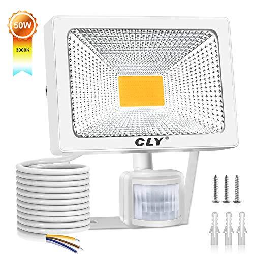 Projecteur LED avec détecteur, CLY 50W Spot LED avec détecteur de mouvement, lampe extérieure avec détecteur IP66 4500Lumen 3000K lumières de sécurité pour jardin, cour, garage 【Blanc...