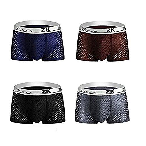 iado Boxers Homme Invisible sans Couture Boxer Respirant Shorties Soie Glacée Microfiber Slips Quatre Couleurs- Ultra Cool et Confortable(Lot de 4) (Mix, L)