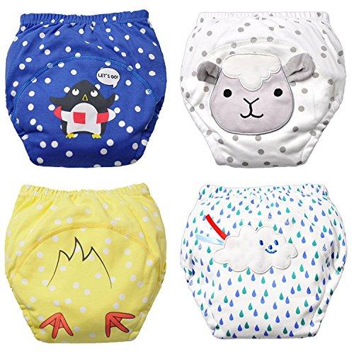 Packungen mit 4 Baby Jungen Waschbar Töpfchen Hose Wiederverwendbare Trainingsunterwäsche Absorbent Unterwäsche Kleinkinder Trainingshose Baumwolle und niedlichen Tier Mustergröße 1-5 Jahre S80