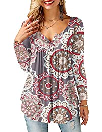 AMORETU Tunika Damen Blumen T-Shirt V Ausschnitt Knopfleiste Bluse Oberteil