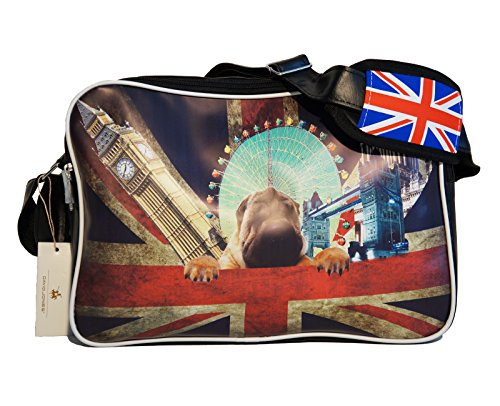 Borsa tracolla unisex David Jones in materiale sintetico con stampa frontale nero / multicolore UK