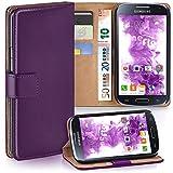 moex Samsung Galaxy S4 | Hülle Lila mit Karten-Fach 360° Book Klapp-Hülle Handytasche Kunst-Leder Handyhülle für Samsung Galaxy S4 / S IV Case Flip Cover Schutzhülle Tasche