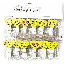 Bonito Mini Madera Pinzas de la ropa pequeño Corazón Emoji Pillow dibujos animados Craft–10Unidades