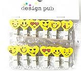 Niedliche Mini Holz Wäscheklammern Klein Herz Emoji Pillow Cartoon Craft - 10 Stück