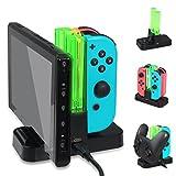 DOBE Supporto di ricarica compatibile con Nintendo Switch Joy-con, supporto di ricarica per controller, caricatore per controller Pro con indicatore LED e cavo USB di tipo C