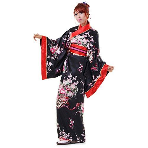 Japanischer Damen Yukata Kimono Chici Baumwolle One Size Orange (Japanische Sexy Kostüme)