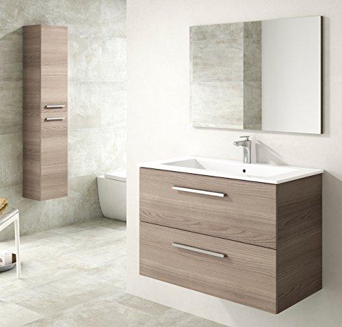 Miroytengo Pack mueble de baño, lavabo o aseo suspendido 2 cajones, espejo, lavamanos de cerámica y columna suspendida 2 puertas color fresno