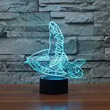 Schildkröte Touch 3D LED-Nachtlicht 7 Farben Schreibtisch Optische Illusions-Lampen mit 150cm USB-Kabel zum Kinder Weihnachtsgeschenk Haus Dekoration