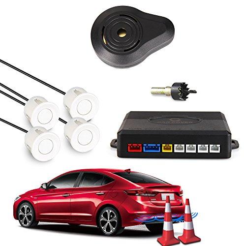 CAR ROVER Car Capteur de Stationnement Auto Système Stationnement BiBi Alerte Sonore Buzzer Avec 4 Capteurs Blanc