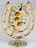 Hufeisen mit Pferd gold überzogen Figur / Statur Kristall Glas MADE WITH SWAROVSKI ELEMENTS (goldfarben)