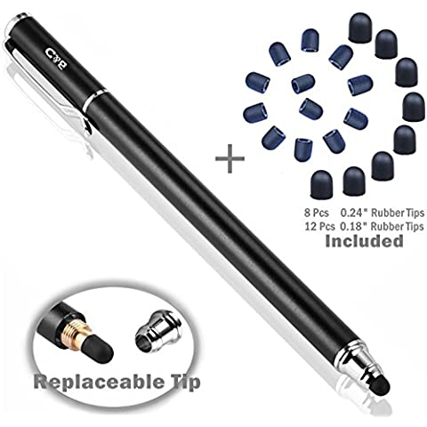B&D 1 unidad Bolígrafos Digitales [0.18-inch Small Punta Series] [Nueva Versión] 2-en-1 Lápiz Capacitivo Bundle con Puntas de Oma de Repuesto de 20 unidades por La Mayoría de los Smartphones, Tabletas y Otros Dispositivos con Pantalla Táctil , Color Negro(negro)
