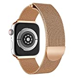 TPulling Apple Watch Series 4 Uhr Armband Milanese Magnetisches Edelstahl Uhrenarmband Bügel Ersatzarmband Handschlaufe (40MM) (Roségold)
