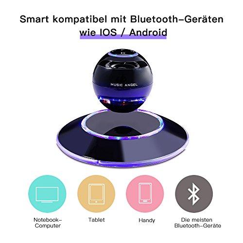 MUSIC ANGEL 360 Grad Lautsprecher mit Magnetschwebe mit Bluetooth 4.0 Multifarben LED kabellos, schwarz - 5
