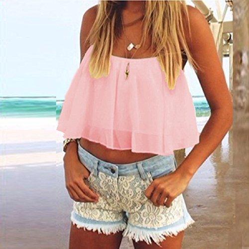 Malloom Mode Frauen Sommer Ärmellos Beiläufige Weste Tank Top Bluse Rosa
