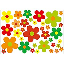easydruck24de–Juego de Flores Multicolor I Coche Margaritas 243I Flower Power Pegatinas para Roller Bicicleta portátil Funda de Auto Adhesivo I Impermeable