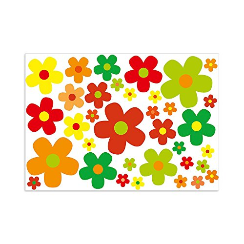 Preisvergleich Produktbild easydruck24de Aufkleber-Set Blumen Blümchen bunt I Flower-Power Sticker für Roller Fahrrad Notebook Laptop Handy Auto-Aufkleber I wetterfest I kfz_243