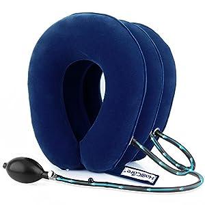 Cervical Zugmechanik, hailicare aufblasbare–Nackenkissen, effektive und sofortige Schmerzlinderung für chronische Hals und Schulter Schmerzen, gebärmutterhals-Halsband verstellbar (rot)