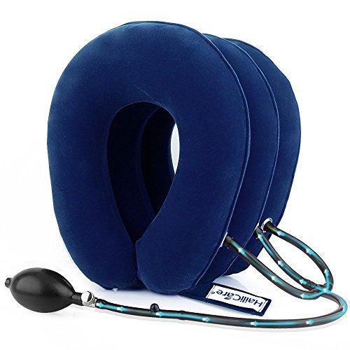 HailiCare Hals Zugvorrichtung - Aufblasbare Halskragen/Nackenstütze - Zervikale Traktion Nackenkissen gegen Kopf- und Schulterschmerzen - mit verstellbarer Größe, größerer Pumpe (Blau) (Kopf Traktion)