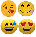 #9: Pandora Premium Quality Flying Kiss,Hungry,Happy and Heart Soft Smiley Cushion - 35 Cm Set Of 4