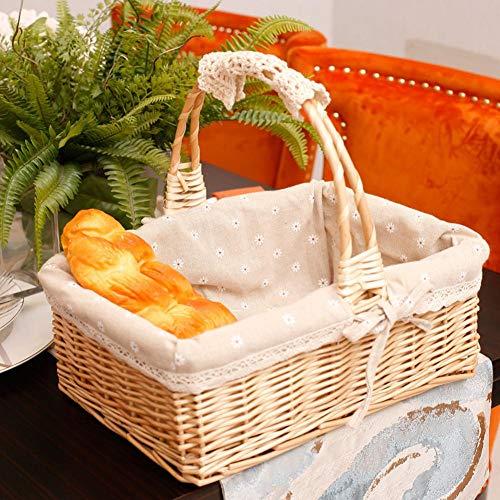 Coseyil Große Aufbewahrungskorb Gewebter Picknickkorb Weinkorb mit Griffen Obstkörbe Ostern Korb Rattan Garten Wicker Lagerung aus Kunststoff Ostereier und Ostern Süßigkeiten -