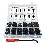 240 Pzas Clip Remaches Negro Universales de Plastico Nylon Para Coche, Set de Retenedores Surtidos