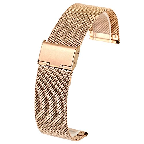 (JSDDE Edelstahl Mesh Uhrenarmband Metallarmband Uhrenarmbänder Uhrenband Watch Band mit Faltschließe 18mm 20mm 22mm (Rosegold 20mm))