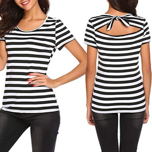 Modaworld TopsDamen Kurzarm T-Shirt Kurzarm Top Kurzärmeliger Rückenbogen Sommer Bluse Streifen Kostüm (S, Weiß)