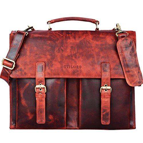 Rote Damen Aktentasche (STILORD 'Constantin' Vintage Lehrertasche Aktentasche Herren Damen Bürotasche Hauptfach für 15.6 Zoll Laptop Umhängetasche groß Leder, Farbe:kara - rot)