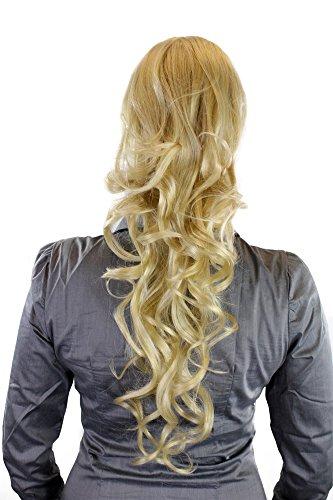 Postiche/couette/queue de cheval, volumineux, bouclé, très long 60 cm + nouveau système d'attache : mini pince papillon, pince plate et élastique blond clair WK08-611