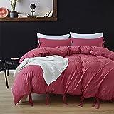 Bonner Bettwäsche Set Volltonfarbe Moderne Bettdecke Set Quilt Bettbezug Bettwäsche Bettwäsche-Sets,Red,King