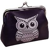 Cartera de piel Sannysis Retro bolsa con monedas, Tarjeta Monedero del bolso de la caja, 12*10cm (Búho)