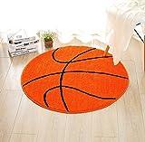Zinsale Basketball/Rugby/Fußball Muster Rutschfest Polyester Runder Teppich (Basketball, 90cm)