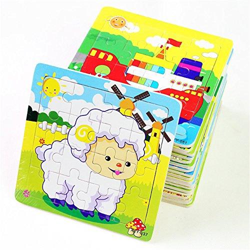 PROW® Rompecabezas de madera 16 piezas de niños cuadrados rompecabezas de juguete Elefante Panda Cachorro Pequeño cordero Nave Tren Aviones Gansos Vacas Tigre Gallo Ranas educación segura de aprendizaje juguetes (12 paquetes, cada 16)
