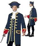 Herren Pirat Commander Marineblau Offizier Kostüm Größe L