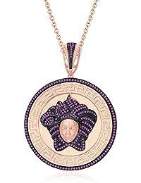 "Silvernshine 1.25 Ct Round Cut Pink Sapphire Versa Pendant 18"" Chain In 14K Rose Gold Over"