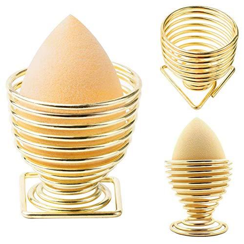 TOOGOO Paquet De 3 Support De Maquillage D'éponge De Beauté Support D'éponge De Maquillage,Support De Séchage Présentoir D'Houppe à Poudre D'?uf- Or