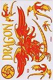 Fliegender Drache rot gelbSticker Aufkleber Folie 1 Blatt 270 mm x 180 mm wetterfest